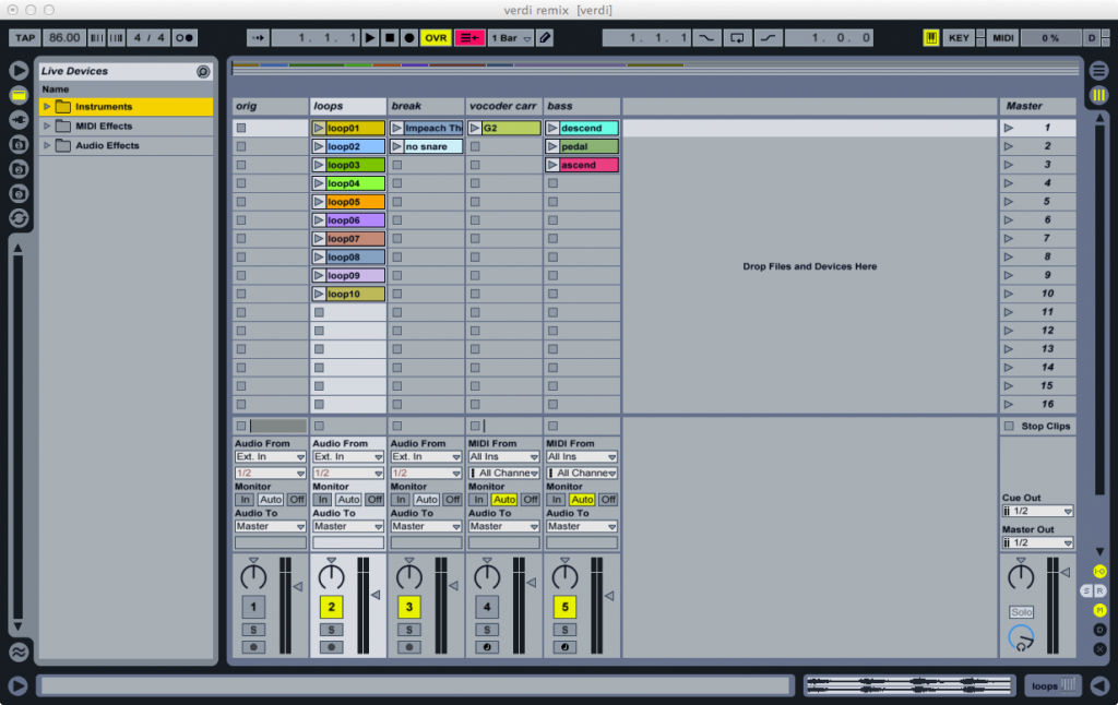 Loops in session view