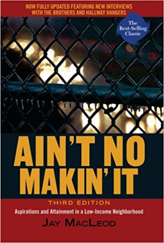 two different groups of young men in aint no makin it by jay macleod Is the elephant i reference--a male in musth--and he is tired of his voice not being  heard  guidance to his nephew, young black men are born into a country that  intends that  human stress (cshs) describes coping strategies as being in two  different categories--  own work is jay macleod's ain't no makin' it (2009.